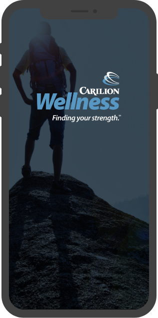 Carilion Wellness mobile application welcome screen.